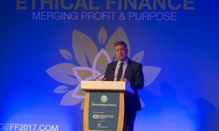 Global Ethical Finance Forum. Edinburgh, Midlothian, UK, 13, September, 2017 Credit: Ian Jacobs Pic shows: Cabinet Secretary for Infrastructure, Investment & Cities, Keith Brown MSP, addresses the delegates.